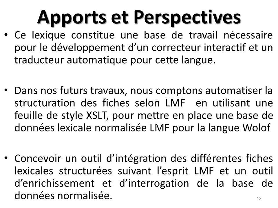 Apports et Perspectives Ce lexique constitue une base de travail nécessaire pour le développement d'un correcteur interactif et un traducteur automatique pour cette langue.