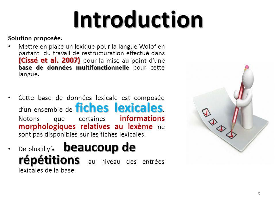 Introduction Solution proposée. (Cissé et al.