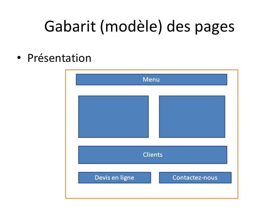 Gabarit (modèle) des pages Présentation Menu Clients Devis en ligneContactez-nous