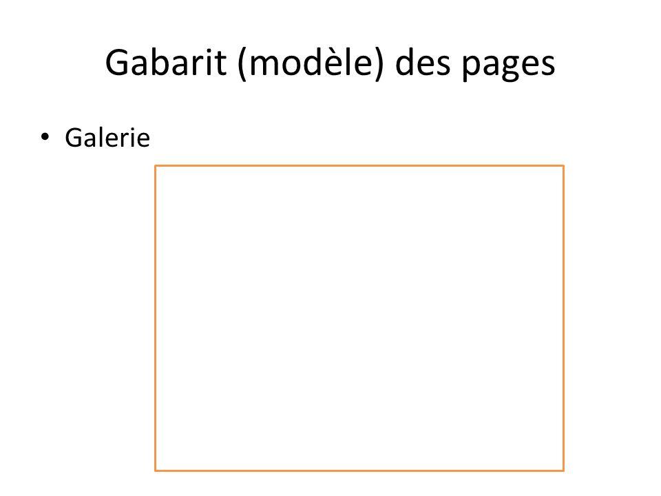 Gabarit (modèle) des pages Galerie