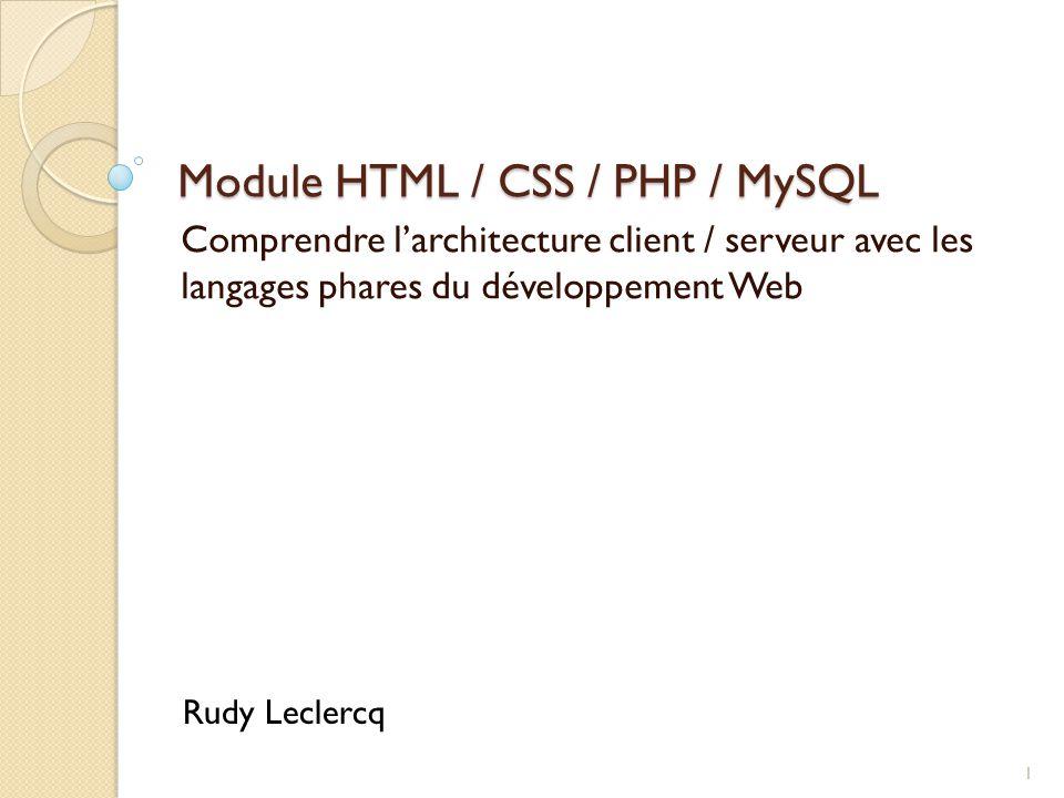 Module HTML / CSS / PHP / MySQL Comprendre l'architecture client / serveur avec les langages phares du développement Web 1 Rudy Leclercq