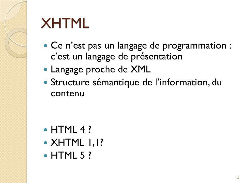 XHTML Ce n'est pas un langage de programmation : c'est un langage de présentation Langage proche de XML Structure sémantique de l'information, du cont