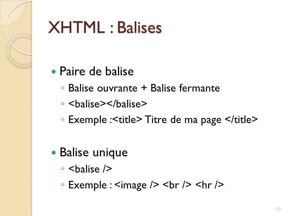 XHTML : Balises Paire de balise ◦ Balise ouvrante + Balise fermante ◦ ◦ Exemple : Titre de ma page Balise unique ◦ ◦ Exemple : 13
