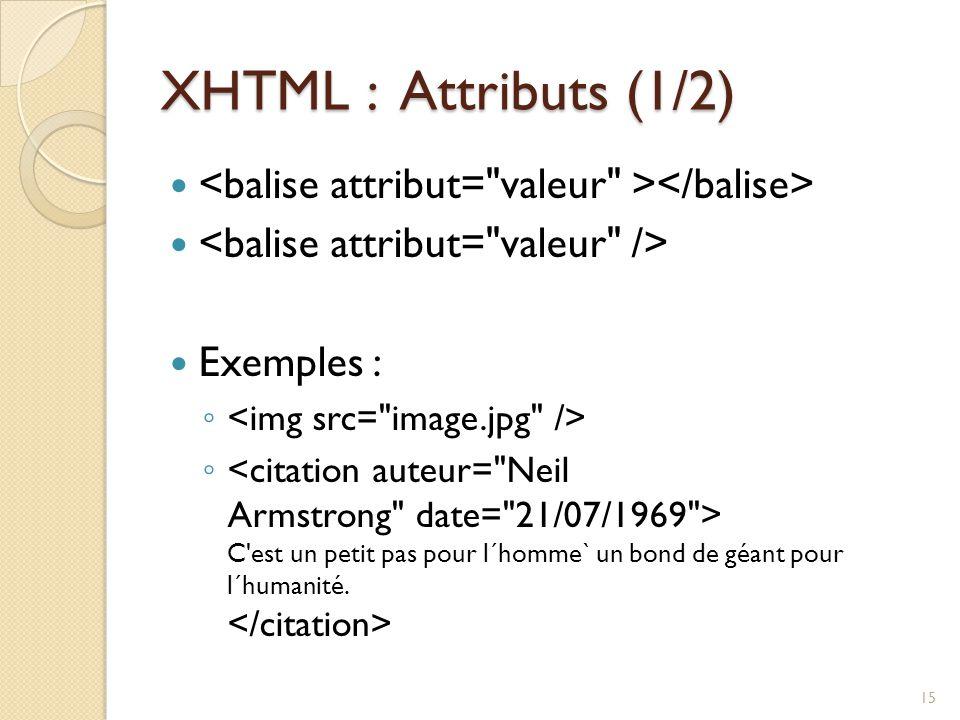XHTML : Attributs (1/2) Exemples : ◦ ◦ C'est un petit pas pour l´homme` un bond de géant pour l´humanité. 15