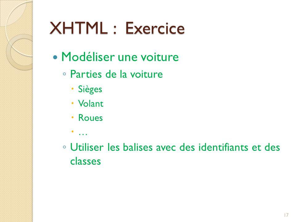 XHTML : Exercice Modéliser une voiture ◦ Parties de la voiture  Sièges  Volant  Roues  … ◦ Utiliser les balises avec des identifiants et des class