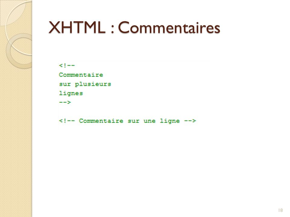 XHTML : Commentaires 18