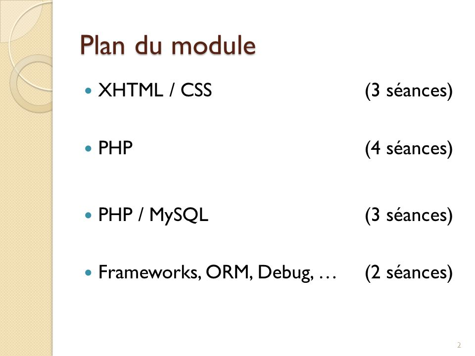 Plan du module XHTML / CSS (3 séances) PHP (4 séances) PHP / MySQL (3 séances) Frameworks, ORM, Debug, … (2 séances) 2