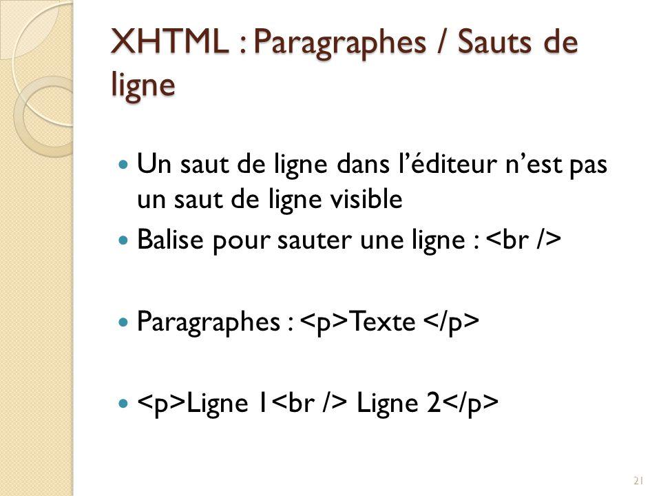 XHTML : Paragraphes / Sauts de ligne Un saut de ligne dans l'éditeur n'est pas un saut de ligne visible Balise pour sauter une ligne : Paragraphes : Texte Ligne 1 Ligne 2 21