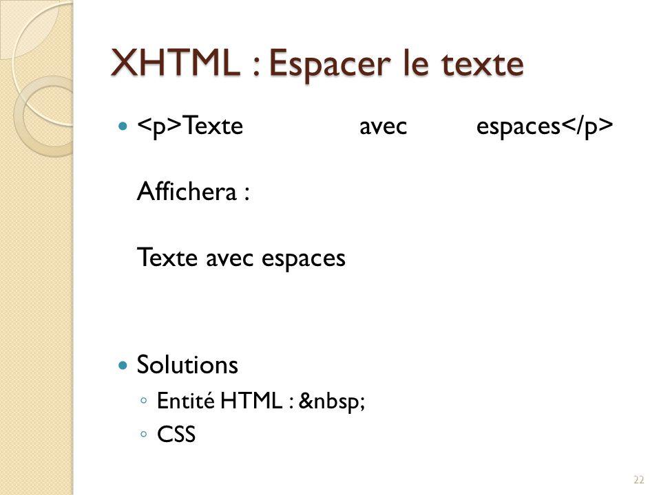 XHTML : Espacer le texte Texte avec espaces Affichera : Texte avec espaces Solutions ◦ Entité HTML : ◦ CSS 22