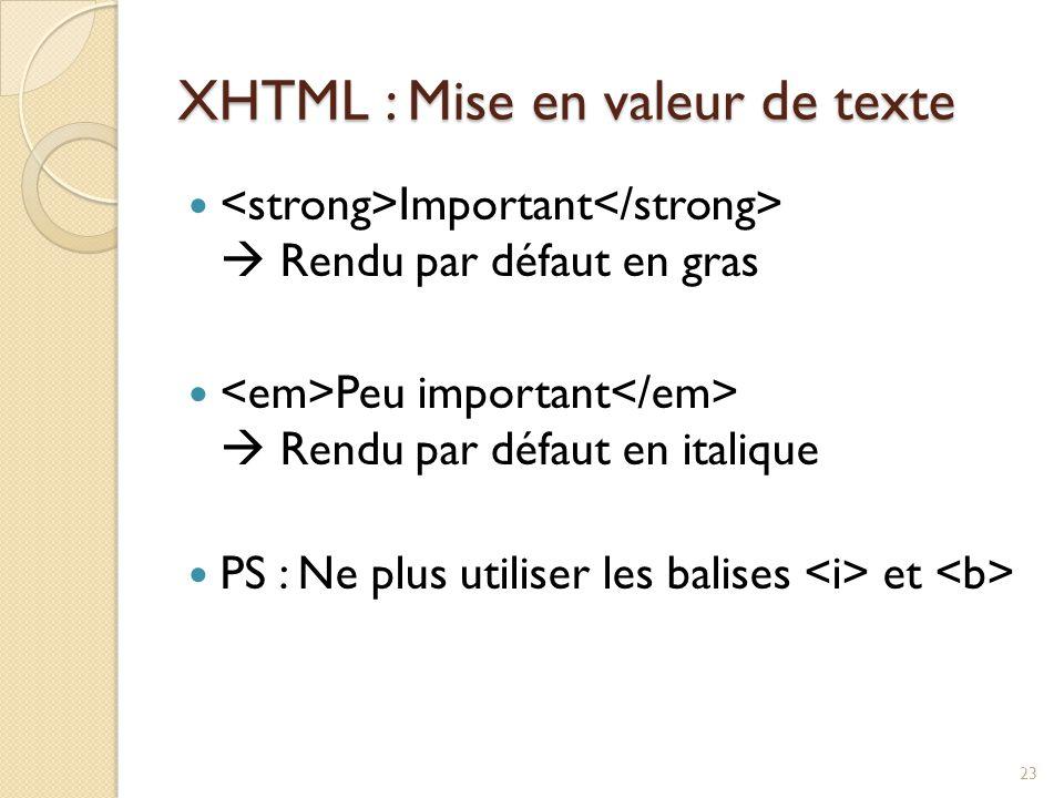 XHTML : Mise en valeur de texte Important  Rendu par défaut en gras Peu important  Rendu par défaut en italique PS : Ne plus utiliser les balises et