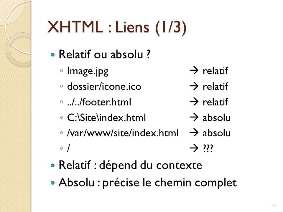XHTML : Liens (1/3) Relatif ou absolu ? ◦ Image.jpg  relatif ◦ dossier/icone.ico  relatif ◦../../footer.html  relatif ◦ C:\Site\index.html  absolu