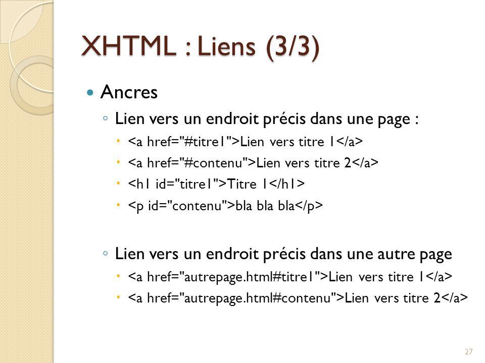 XHTML : Liens (3/3) Ancres ◦ Lien vers un endroit précis dans une page :  Lien vers titre 1  Lien vers titre 2  Titre 1  bla bla bla ◦ Lien vers un endroit précis dans une autre page  Lien vers titre 1  Lien vers titre 2 27