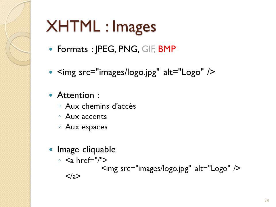 XHTML : Images Formats : JPEG, PNG, GIF, BMP Attention : ◦ Aux chemins d'accès ◦ Aux accents ◦ Aux espaces Image cliquable ◦ 28
