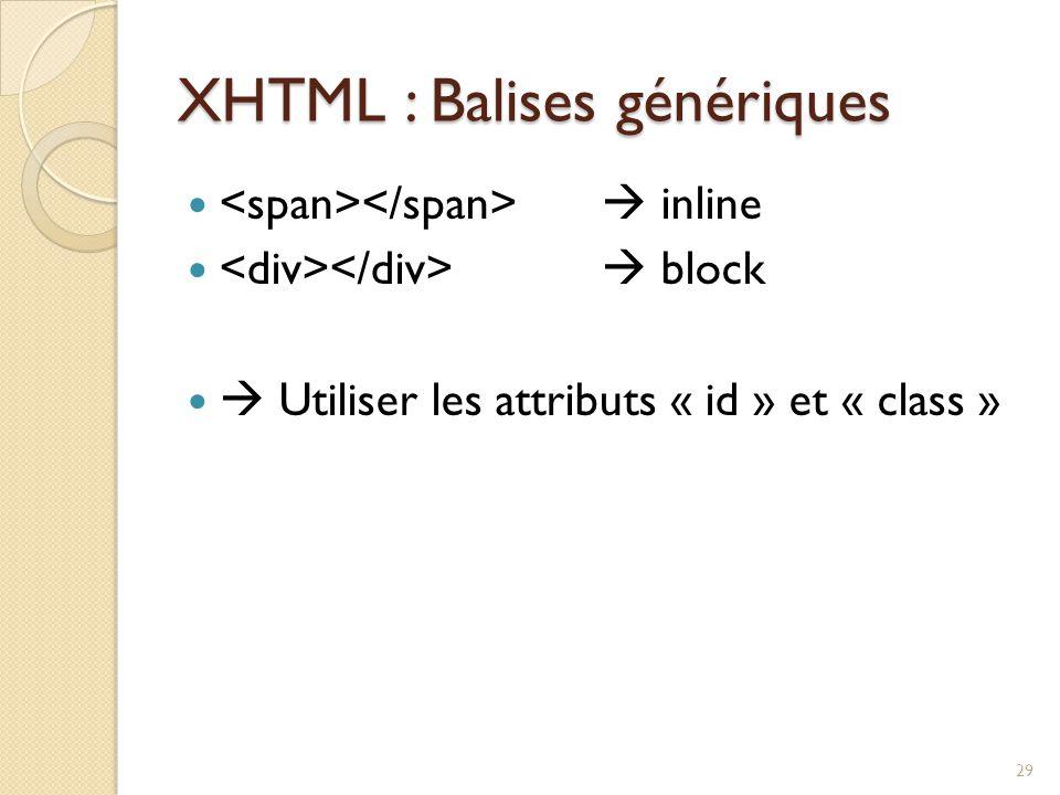 XHTML : Balises génériques  inline  block  Utiliser les attributs « id » et « class » 29