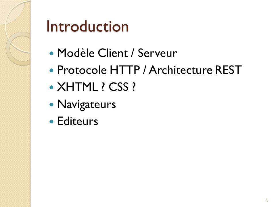 Introduction Modèle Client / Serveur Protocole HTTP / Architecture REST XHTML ? CSS ? Navigateurs Editeurs 5