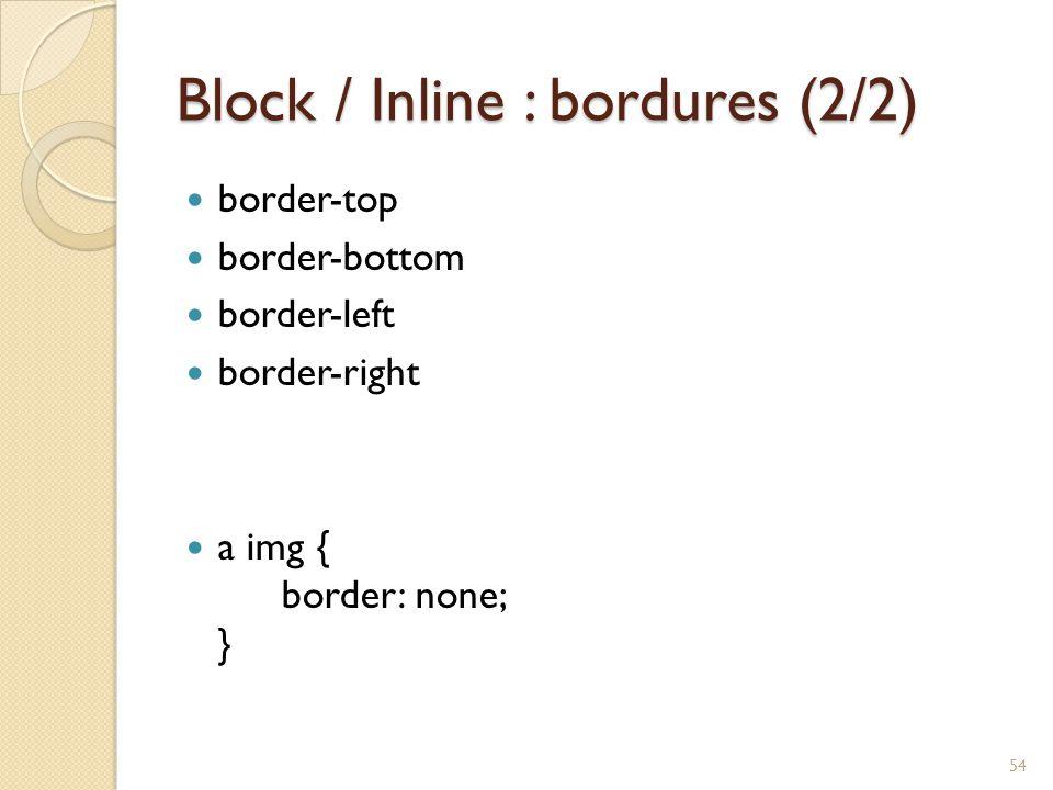 Block / Inline : bordures (2/2) border-top border-bottom border-left border-right a img { border: none; } 54