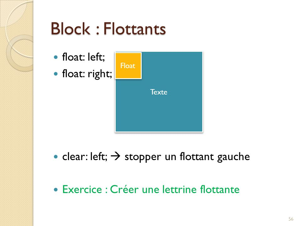 Block : Flottants float: left; float: right; clear: left;  stopper un flottant gauche Exercice : Créer une lettrine flottante Texte Float 56
