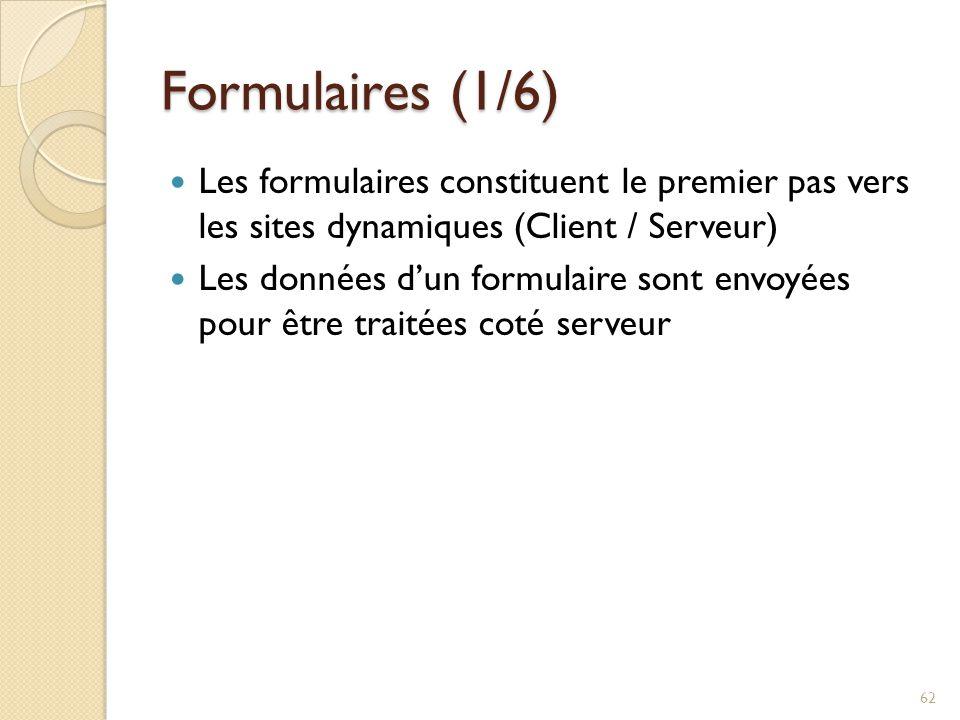 Formulaires (1/6) Les formulaires constituent le premier pas vers les sites dynamiques (Client / Serveur) Les données d'un formulaire sont envoyées pour être traitées coté serveur 62