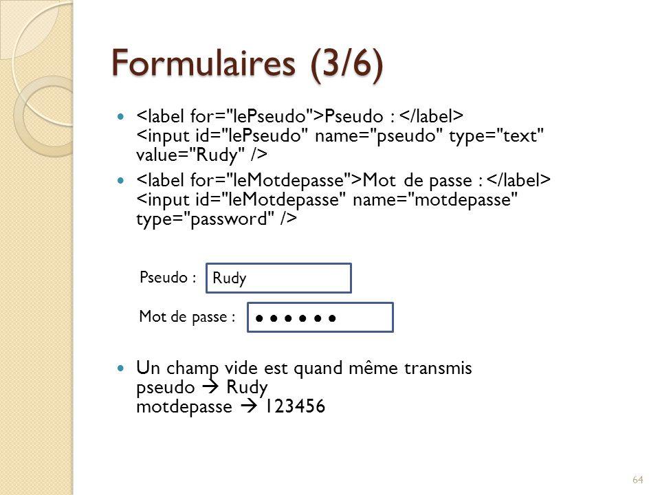 Formulaires (3/6) Pseudo : Mot de passe : Un champ vide est quand même transmis pseudo  Rudy motdepasse  123456 64 Rudy Pseudo : ● ● ● ● ● ●● ● ● ●