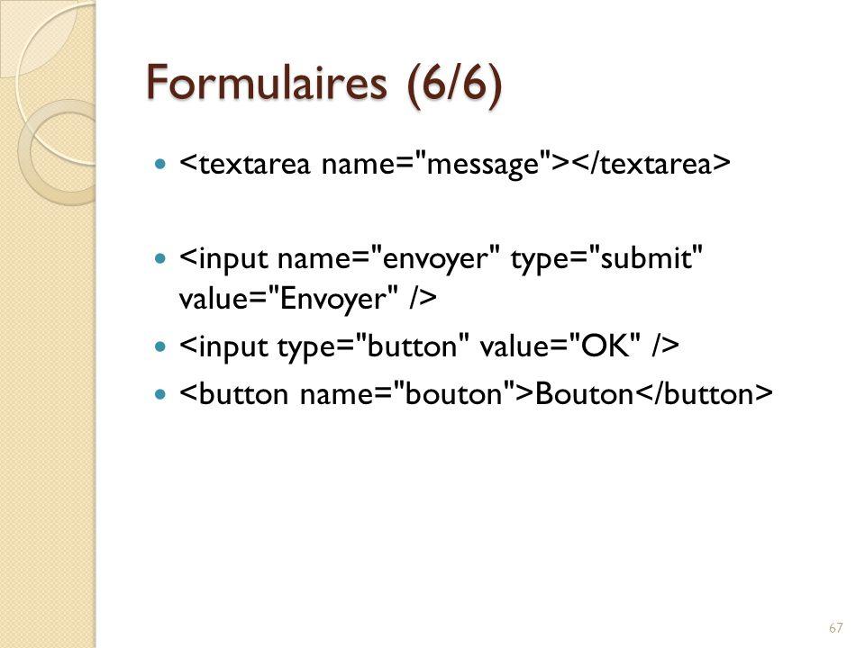 Formulaires (6/6) Bouton 67