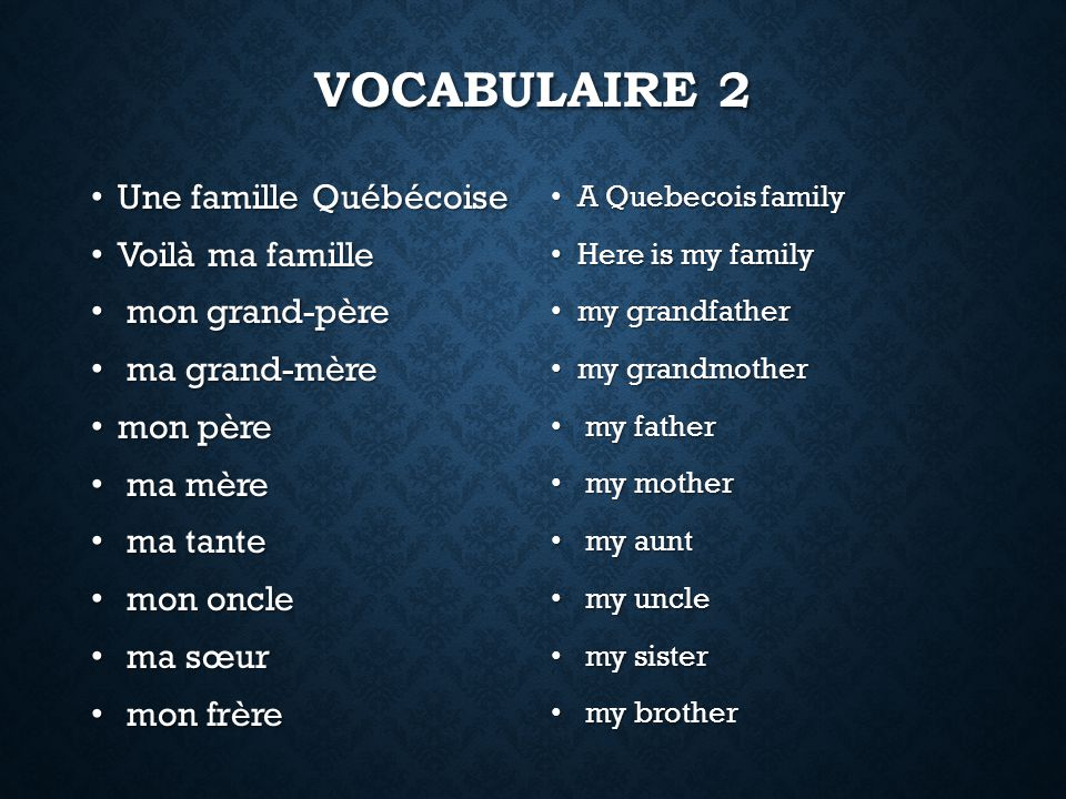 VOCABULAIRE 2 Une famille Québécoise Une famille Québécoise Voilà ma famille Voilà ma famille mon grand-père mon grand-père ma grand-mère ma grand-mère mon père mon père ma mère ma mère ma tante ma tante mon oncle mon oncle ma sœur ma sœur mon frère mon frère A Quebecois family Here is my family my grandfather my grandmother my father my mother my aunt my uncle my sister my brother