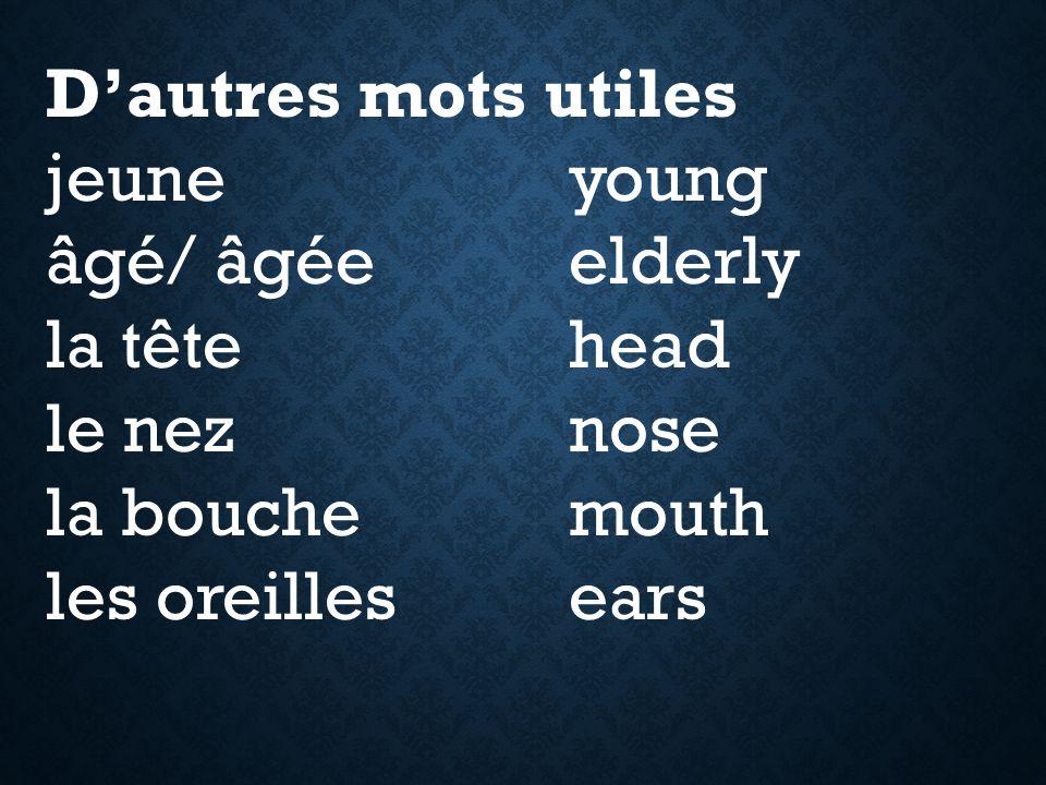 D'autres mots utiles jeuneyoung âgé/ âgéeelderly la têtehead le neznose la bouchemouth les oreillesears