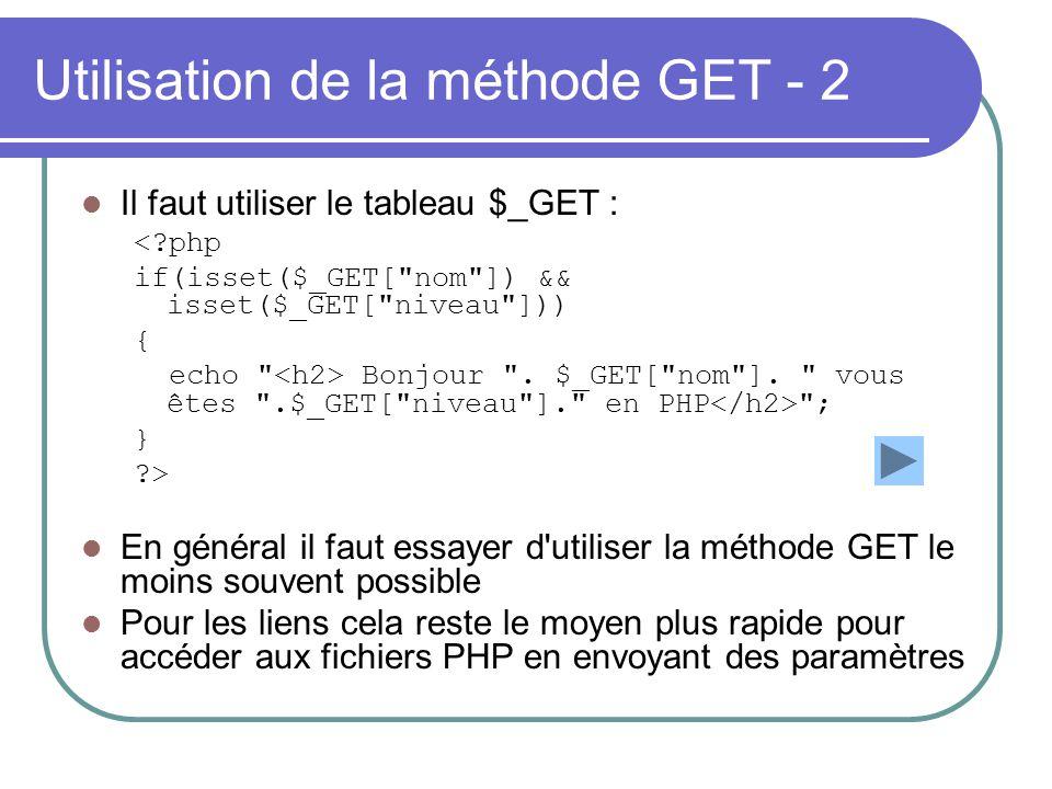 Utilisation de la méthode GET - 2 Il faut utiliser le tableau $_GET : <?php if(isset($_GET[