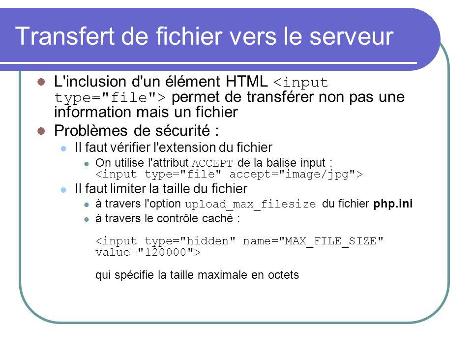 Transfert de fichier vers le serveur L'inclusion d'un élément HTML permet de transférer non pas une information mais un fichier Problèmes de sécurité