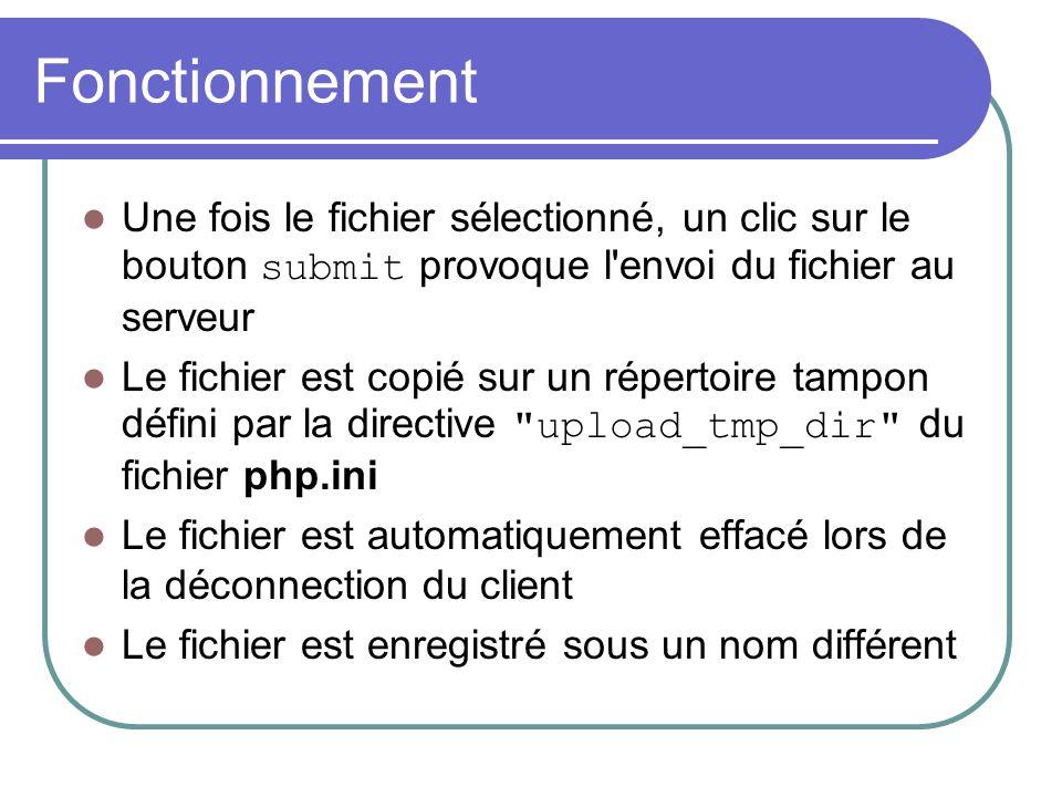 Fonctionnement Une fois le fichier sélectionné, un clic sur le bouton submit provoque l'envoi du fichier au serveur Le fichier est copié sur un répert
