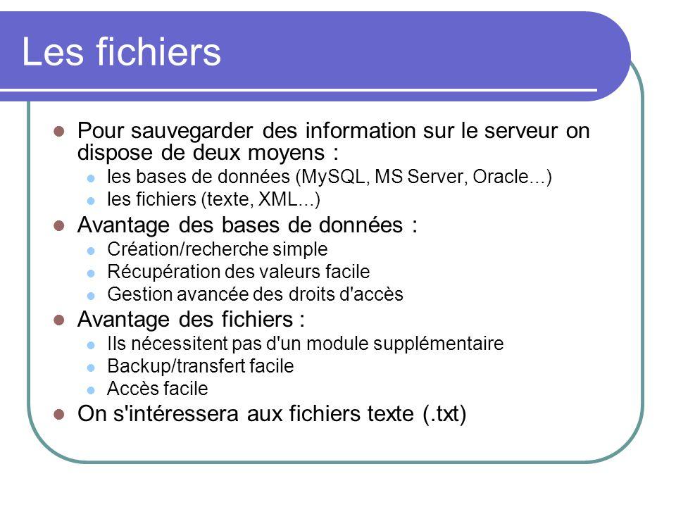 Les fichiers Pour sauvegarder des information sur le serveur on dispose de deux moyens : les bases de données (MySQL, MS Server, Oracle...) les fichie
