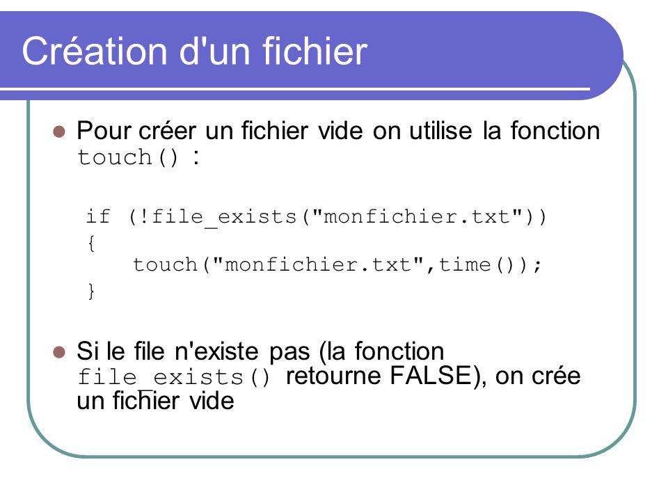 Création d'un fichier Pour créer un fichier vide on utilise la fonction touch() : if (!file_exists(