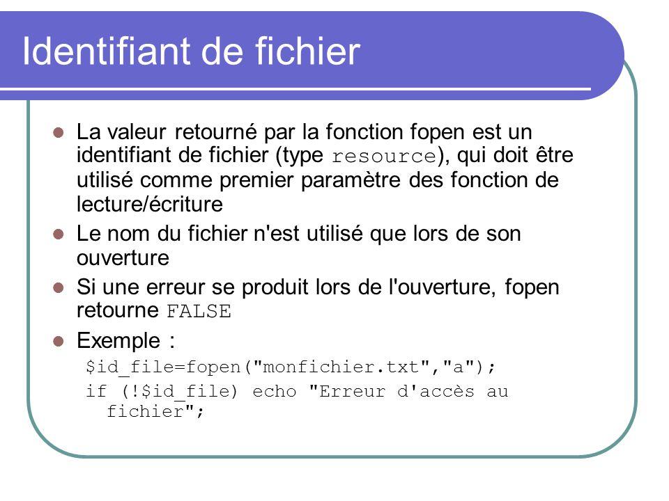 Identifiant de fichier La valeur retourné par la fonction fopen est un identifiant de fichier (type resource ), qui doit être utilisé comme premier pa