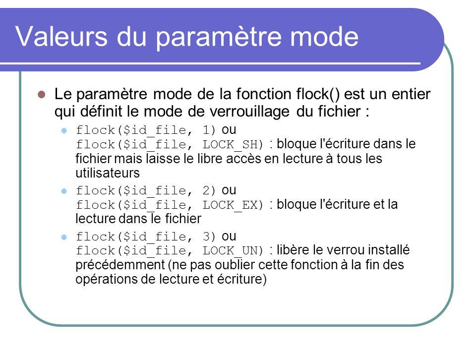Valeurs du paramètre mode Le paramètre mode de la fonction flock() est un entier qui définit le mode de verrouillage du fichier : flock($id_file, 1) o