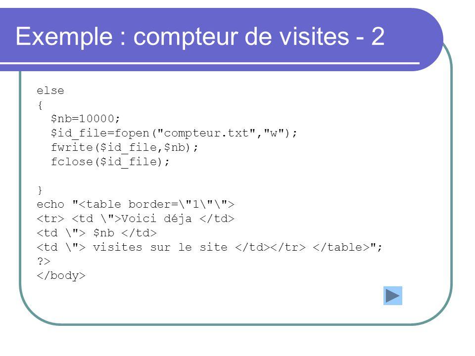 Exemple : compteur de visites - 2 else { $nb=10000; $id_file=fopen(