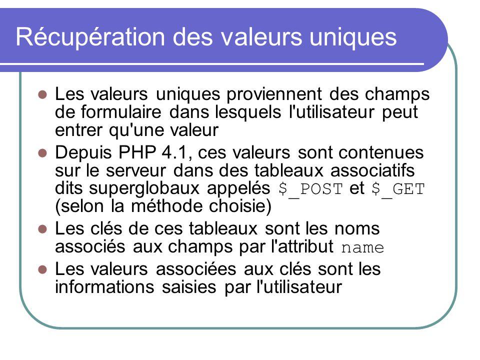 Récupération des valeurs uniques Les valeurs uniques proviennent des champs de formulaire dans lesquels l'utilisateur peut entrer qu'une valeur Depuis