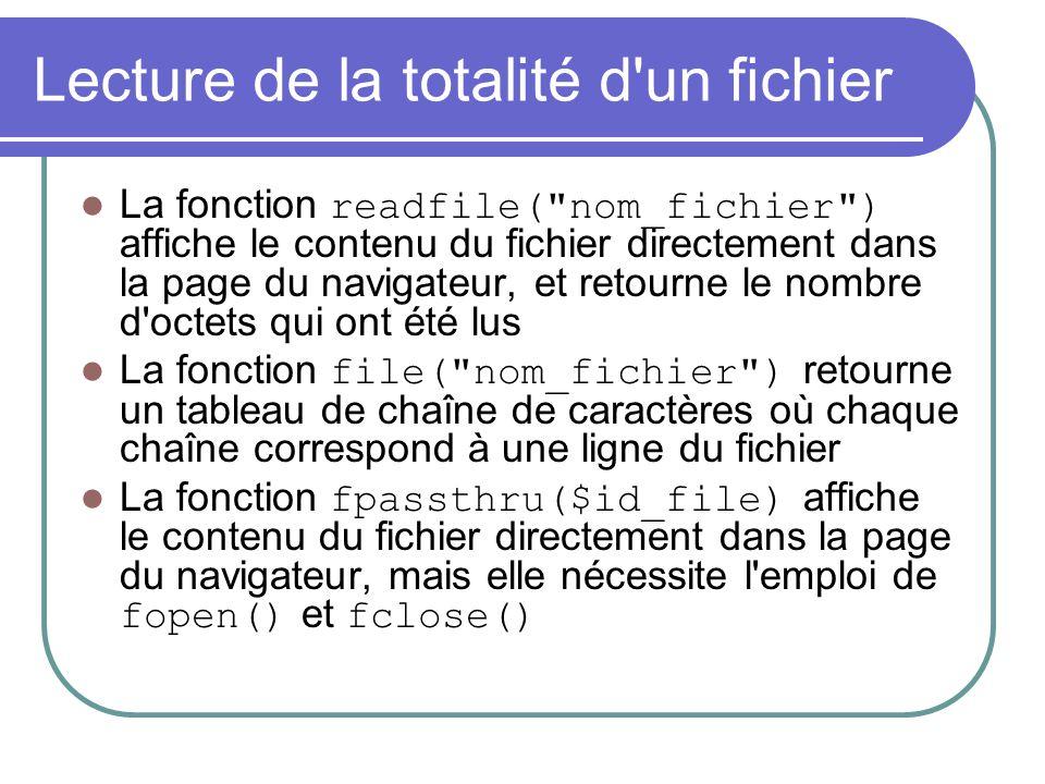 Lecture de la totalité d'un fichier La fonction readfile(