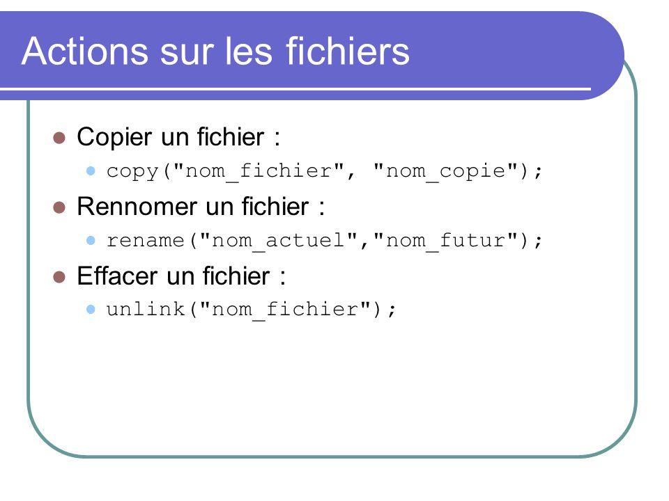 Actions sur les fichiers Copier un fichier : copy(