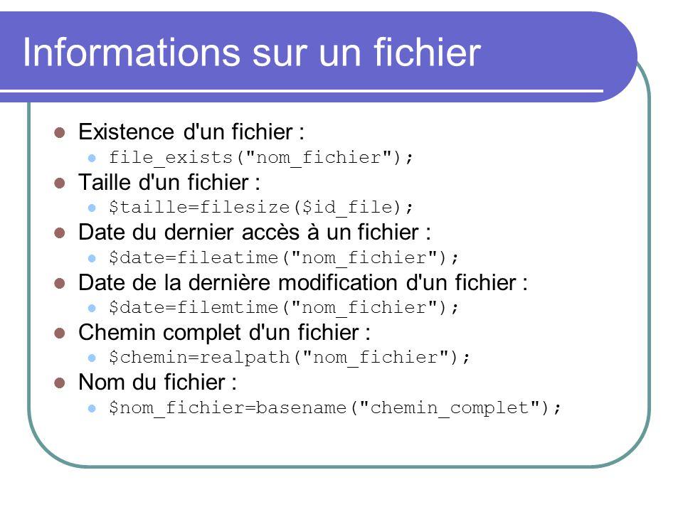 Informations sur un fichier Existence d'un fichier : file_exists(