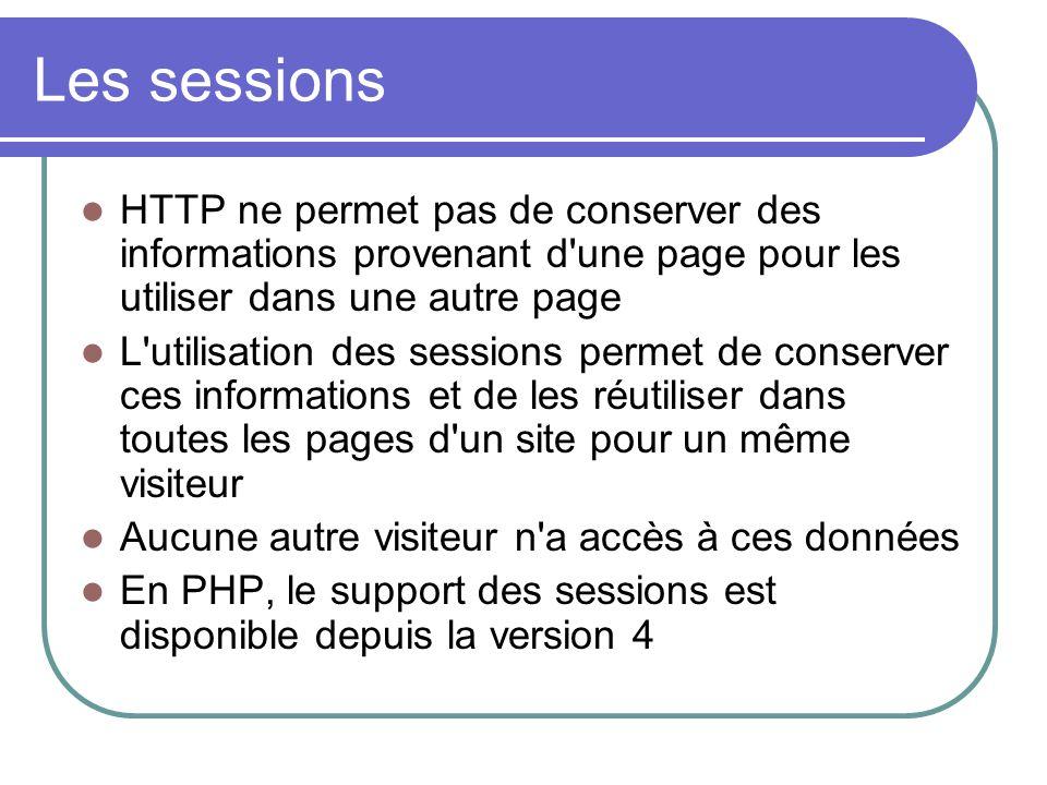 Les sessions HTTP ne permet pas de conserver des informations provenant d'une page pour les utiliser dans une autre page L'utilisation des sessions pe