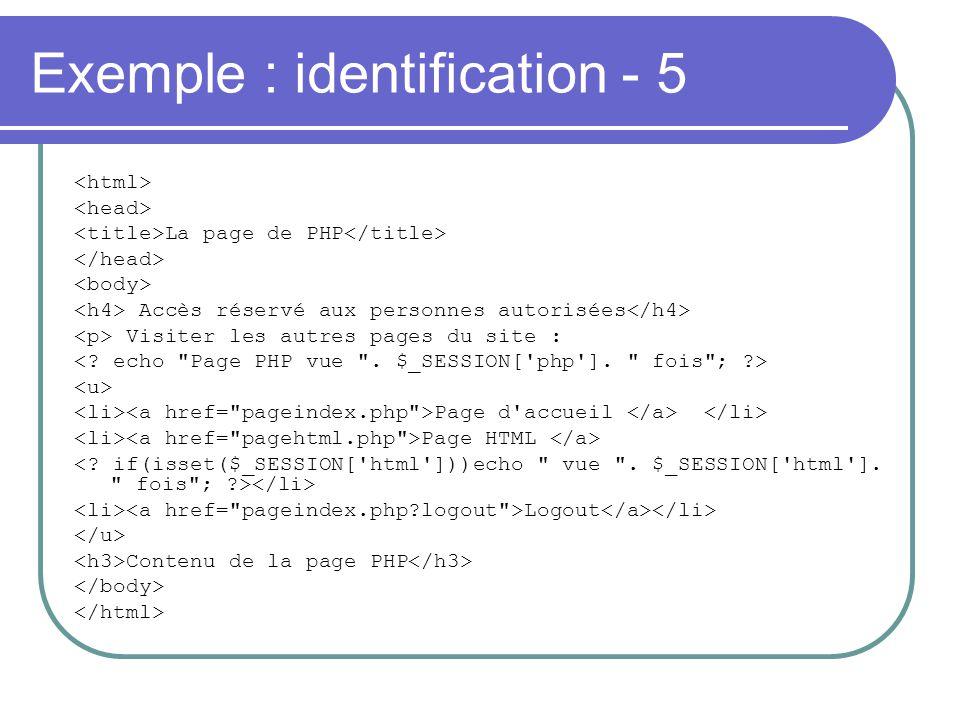 Exemple : identification - 5 La page de PHP Accès réservé aux personnes autorisées Visiter les autres pages du site : Page d'accueil Page HTML Logout
