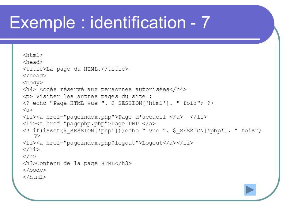 Exemple : identification - 7 La page du HTML. Accès réservé aux personnes autorisées Visiter les autres pages du site : Page d'accueil Page PHP Logout