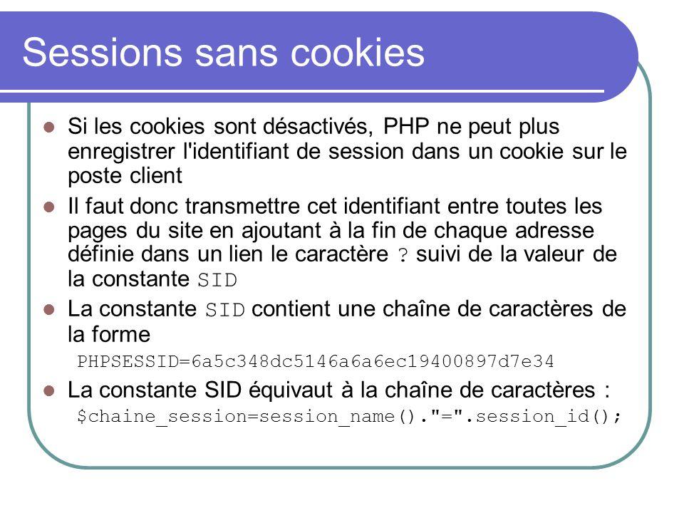 Sessions sans cookies Si les cookies sont désactivés, PHP ne peut plus enregistrer l'identifiant de session dans un cookie sur le poste client Il faut