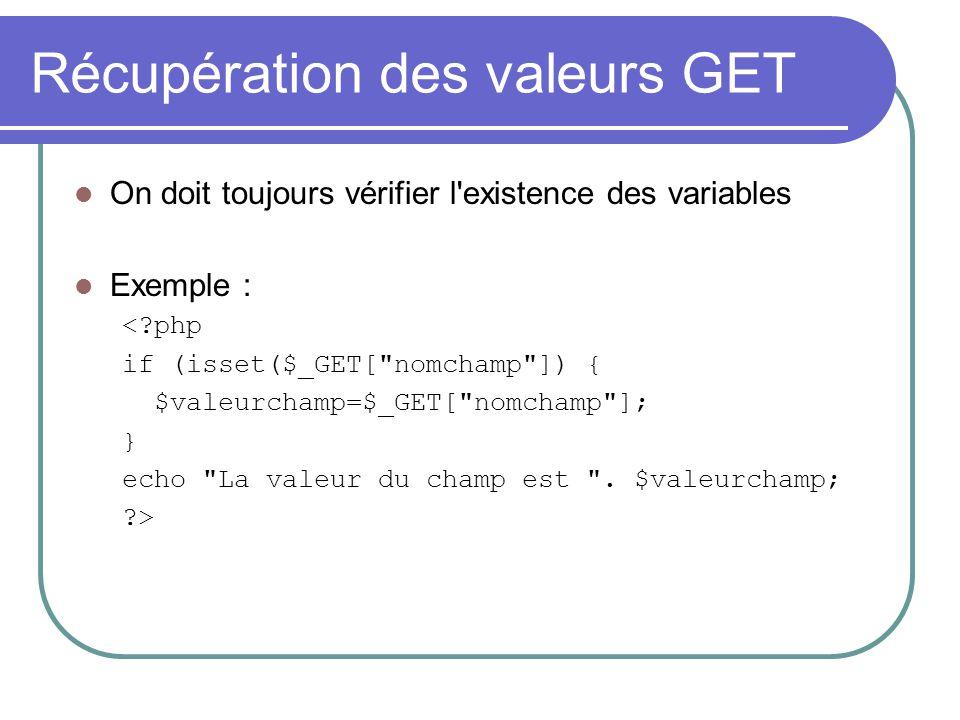 Récupération des valeurs GET On doit toujours vérifier l'existence des variables Exemple : <?php if (isset($_GET[