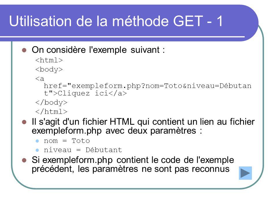 Utilisation de la méthode GET - 1 On considère l'exemple suivant : Cliquez ici Il s'agit d'un fichier HTML qui contient un lien au fichier exempleform