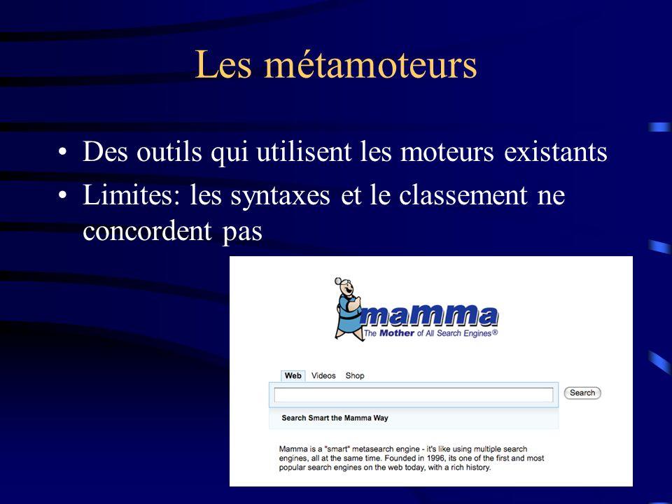 Les métamoteurs Des outils qui utilisent les moteurs existants Limites: les syntaxes et le classement ne concordent pas