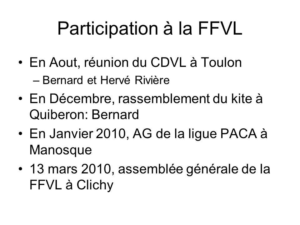 Participation à la FFVL En Aout, réunion du CDVL à Toulon –Bernard et Hervé Rivière En Décembre, rassemblement du kite à Quiberon: Bernard En Janvier 2010, AG de la ligue PACA à Manosque 13 mars 2010, assemblée générale de la FFVL à Clichy