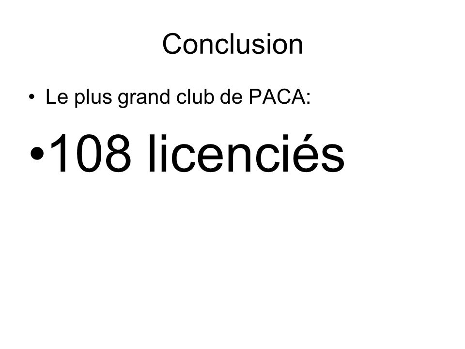 Conclusion Le plus grand club de PACA: 108 licenciés