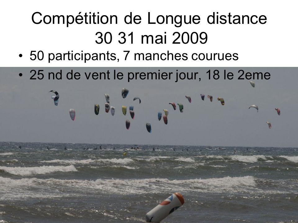Compétition de Longue distance 30 31 mai 2009 50 participants, 7 manches courues 25 nd de vent le premier jour, 18 le 2eme