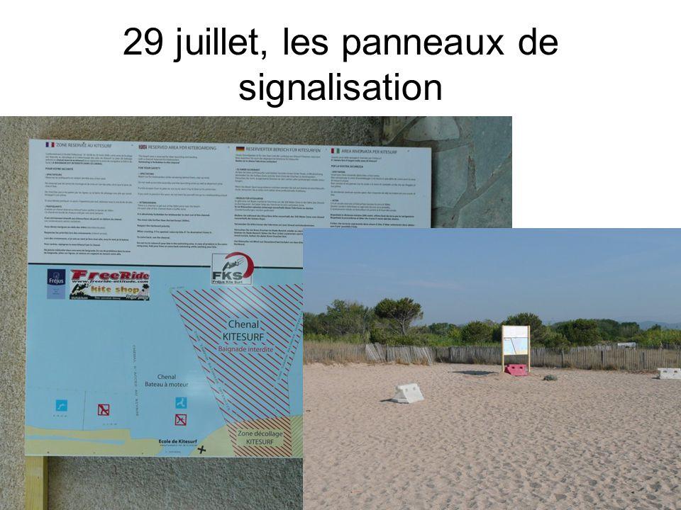 29 juillet, les panneaux de signalisation
