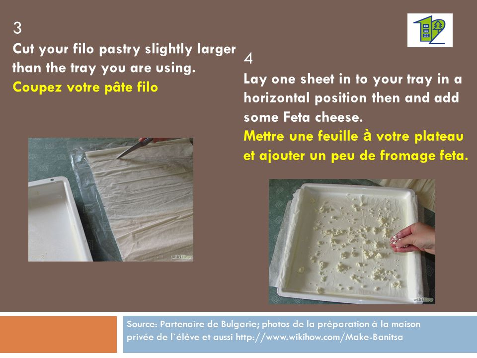 3 Cut your filo pastry slightly larger than the tray you are using.